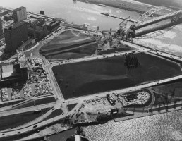 1958: Construction in progress of the Pittsburgh Hilton and Fort Pitt Bridge near Point State Park. (Harry Coughanour/Post-Gazette)