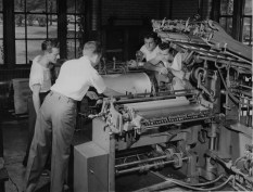 Students at Carnegie Tech learn the tools of the trade. This particular tool was a newfangled color letter press, made at home in Pittsburgh. (Post-Gazette)