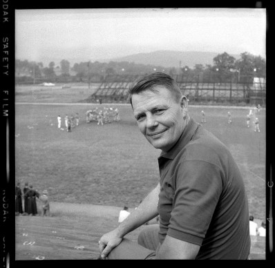 Shortly after taking the reigns, Steelers coach Buddy Parker posed at the team's training camp at St. Bonaventure University in August 1957. (Stewart Love/The Pittsburgh Press)