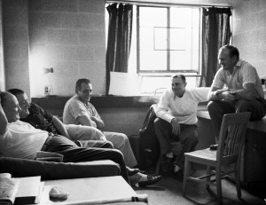 Assistants meet with Steelers head coach Buddy Parker (second from right). (Stewart Love/The Pittsburgh Press)