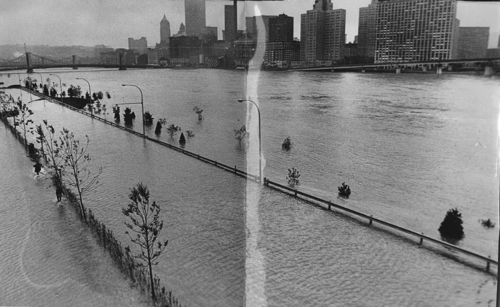 North Shore Park on the North Side was for swimmers instead of strollers as high water from the Allegheny River submerged newly planted landscaping and ornamental light standards along its banks. (Albert M. Herrmann Jr./The Pittsburgh Press)