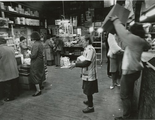 A veiw inside of the Pennsylvania Macaroni compnay from March 1987 shows that the rustic atmosphere of the store has not changed much today. (John Beale/Post Gazette)