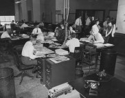 May 27, 1957: The news desk inside The Pittsburgh Press office at 34 Blvd. of the Allies.