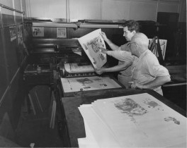 May 27, 1957: Two employees of The Pittsburgh Press work in the engraving room with color plates.