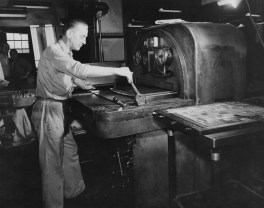May 27, 1957: An employee of The Pittsburgh Press works in the stereotyping department with the matte machine.