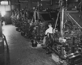 May 27, 1957: A row of linotype machines inside the composing room of The Pittsburgh Press office.