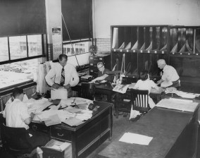 June 13, 1957: The dispatch room at The Pittsburgh Press, home to the national and local advertising copy desk.