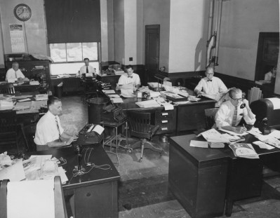 May 27, 1957: Employees at The Pittsburgh Press work in the newspaper's sports department.