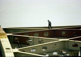 A PennDOT worker atop the Fort Pitt Bridge, summer-spring 1981. (Post-Gazette photo)