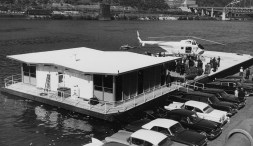 Pittsburgh Airways heliport on the Mon at the foot of Wood Street. (Post-Gazette)
