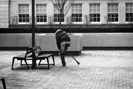 The young man begins to strip. (Morris Berman/Post-Gazette)
