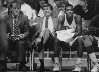 Roy Chipman is not happy with Pitt's performance in the first half against Xavier in December 1984 (Marlene Karas/The Pittsburgh Press)