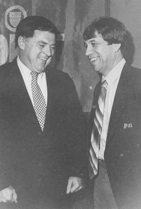 Roy Chipman, right, and David Gavitt, left, the first commissioner of the Big East Conference, which Pitt would join to start the 1982-83 season. (Post-Gazette)
