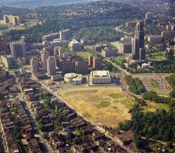The ghostly outline of Forbes Field. (Stewart Love/The Pittsburgh Press)
