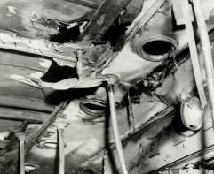 A view of some of the damage done to the trolley struck by lightning on the morning of May 5, 1950. (The Pittsburgh Press)