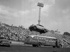 "Keith ""Stoney"" Roberts brought his auto thrill show to South Park on Oct. 29, 1963. (Morris Berman/Post-Gazette)"