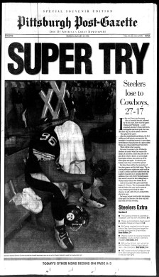 The Pittsburgh Post-Gazette front page Monday, Jan. 29, 1996 — the day after the Steelers lost Super Bowl XXX, 27-17, to the Dallas Cowboys in Tempe, Ariz.