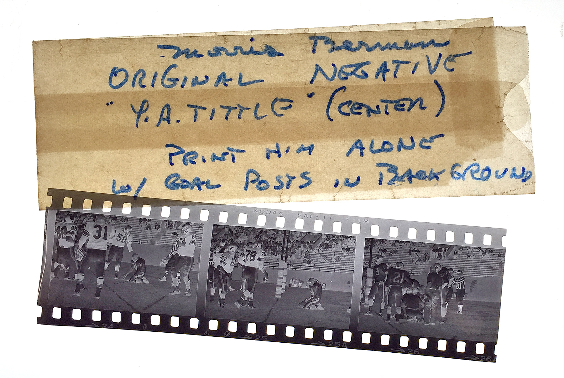 Berman's negatives were stored in a protective sleeve on which were written printing instructions. (Steve Mellon/Post-Gazette)
