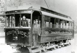 South Side street car, instead of 'Let's go Pens' they sported 'Lake Erie Depots'