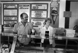 Isaly's employee George Aston (40 yr. employee, 15 at the Oakland store) DoloresB luemle have worked for Isaly's a total of 75 years. Photo was taken in 1984 (Marlene Karas/Pittsburgh Press)
