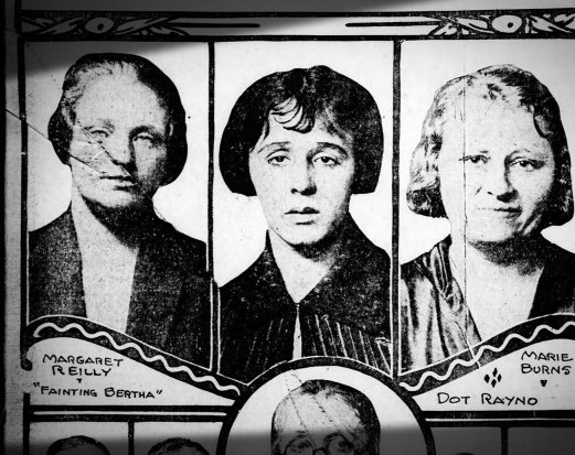 """Fainting Bertha"" and two other notorious pickpockets, Dot Rayno and Marie Burns, in the 1925 Pittsburgh Daily Post."