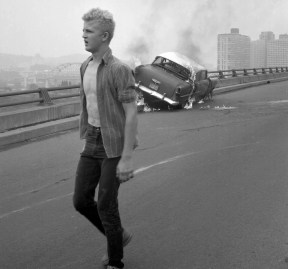 Walking away from the wreckage. (Morris Berman/Post-Gazette)