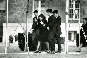 Teresa Heinz enters Heinz Chapel with her three sones for the funeral of her husband, Sen. John Heinz.
