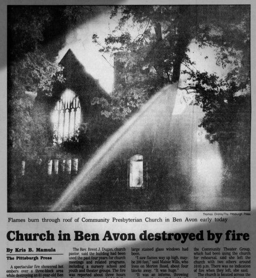 Press coverage of the church fire.