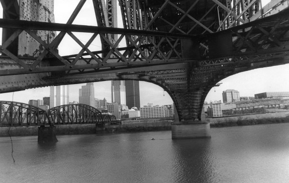 A view under the bridge in January 1983. (Andy Starnes/Post-Gazette)