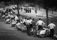 Pall bearers for a motorcyclist killed in July 1964. (Post-Gazette)