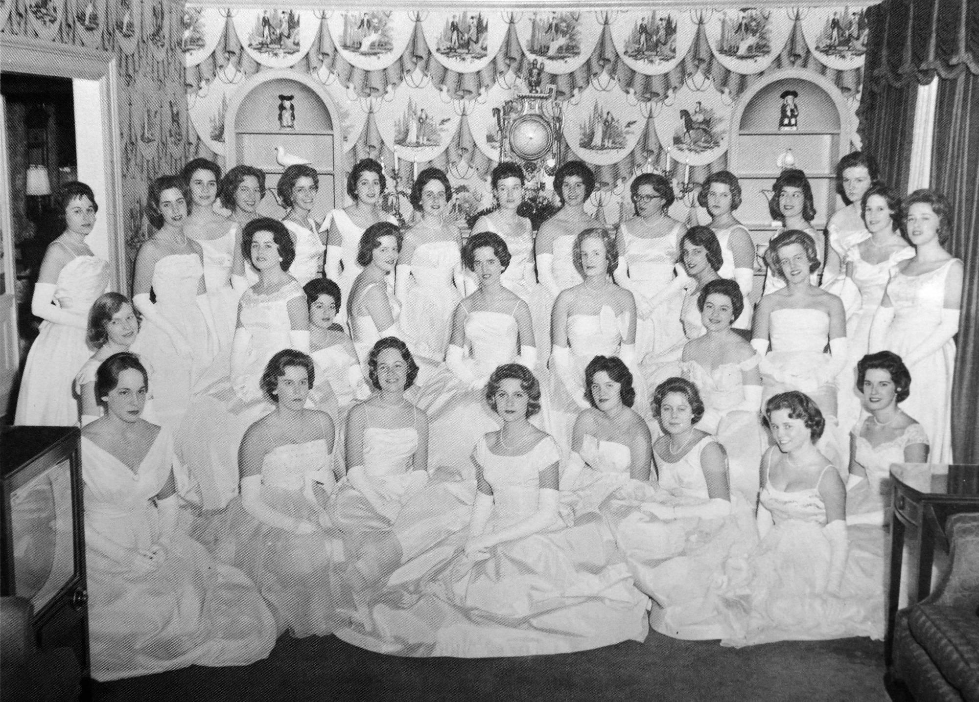 Debutantes from the 1960 Cinderella Ball. (Cinderella Ball Committee Records, MSS 1109, Detre Library & Archives, Heinz History Center)