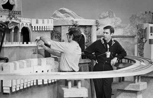 Fred Rogers and producer-director Sam Silberman prepare King Friday's castle in the Neighborhood of Make-Believe.