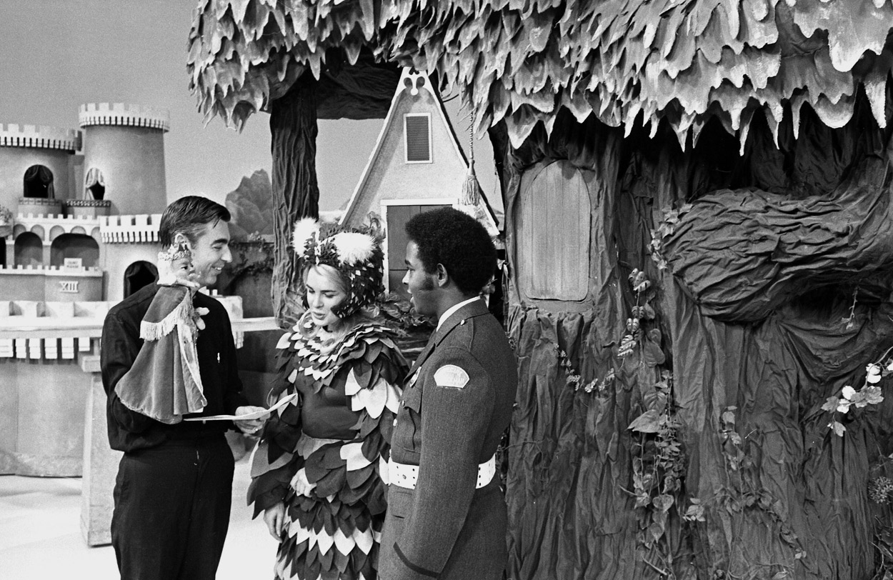 "In the Neighborhood of Make-Believe, Fred Rogers rehearses a scene with actors Mary Rawson (Cousin Mary Owl) and Francois Clemmons (Officer Clemmons). ""There was nothing better than running into Fred,"" said Mary, who continues to act and teaches in the Conservatory at Point Park and in the Pre-College Program at Carnegie Mellon University."