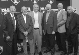 Members of the 1960 World Series teams pose on Nov. 13, 2010, in the Byham Theatre before the showing of the full-length kinescope of Game 7 of the 1960 World Series.