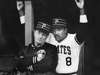 Willie Stargell rejoined the Pirates as first base coach in 1985. He is pictured here with Pirates Manager Chuck Tanner. (Post-Gazette)