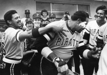 Willie Stargell's teammates smear icing on his face for his birthday in 1982. (Pittsburgh Press).