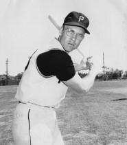 Bill Virdon poses with his bat.