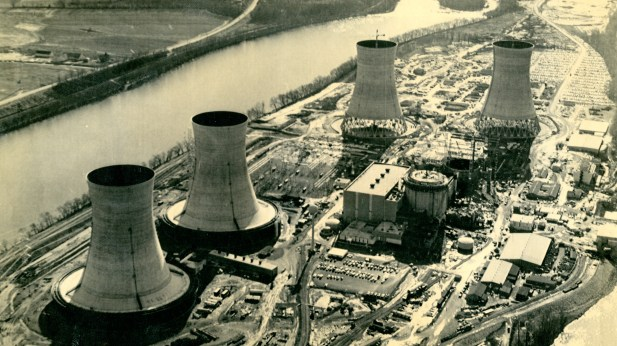 This 1972 photo shows the Three Mile Island plant during construction of the cooling towers for TMI Unit 2 (right). This unit would be the site of a partial meltdown and shut down in 1978, while TMI Unit 1 (left) reopened in 1985 and will remain operational through 2019. (Associated Press)