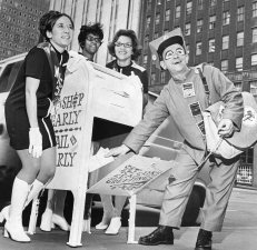 Mr. Zip and the three Miss Zips visited Pittsburgh post offices during the holiday season to give children information about sending letters for Santa. Photo published Dec. 1, 1970. (Pittsburgh Press)
