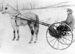In this 1910 picture, mail carrier Snowden A. White makes his 23-mile route in a horse and buggy. Picture published Dec. 4, 1955. (Pittsburgh Press)