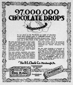 This 1921 ad claims that the D.L. Clark Co. factory produces millions of candies each day. (Pittsburgh Press)