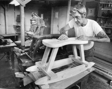 Lee Johnson puts finishing touches on a hobbyhorse project in the prison's carpentry shop. Photo published Aug. 31, 1985. (Post-Gazette)
