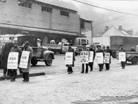 About 100 AFL Teamsters formed this picket line around the Fort Pitt Brewing Co.'s plant in Sharpsburg. Photo published Feb. 17,1947. (Pittsburgh Press)