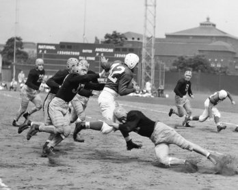 Marshall Goldberg (#42) makes a run. Photo published Sept. 8, 1940.