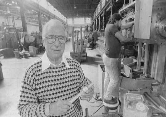 Marshall Goldberg appears at Rogers Machinery, where he served as a consultant. Photo published Sept. 10, 1990.