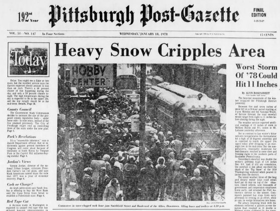 Page A-1 of the Pittsburgh Post-Gazette on Jan. 18, 1978.