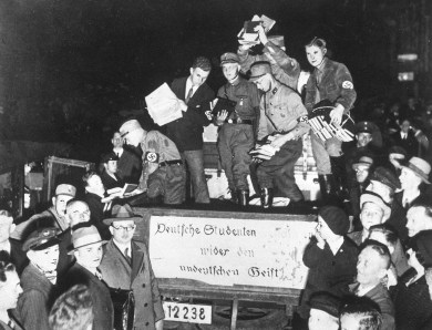 German students collect books during their burning campaign in Nazi Germany in 1933. (Associated Press)
