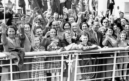 German Jewish refugees return to Antwerp, Belgium, aboard the liner St. Louis after being denied entrance to Cuba. Photo taken June 17, 1939 in Belgium. (Associated Press)