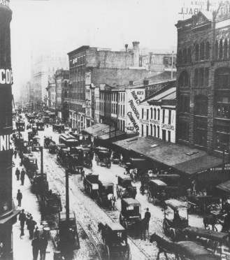 """Wagons, streetcars and horse-carts crowded Liberty Avenue before turn of century when Thomas Jenkins ran 'Largest Flour and Grocery House in World,' at far end of street,"" reads the caption for this undated photo that appeared in The Pittsburgh Press in 1981."