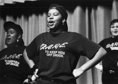 An eighth grader performs at a 1992 rehearsal for D.A.R.E. (John Heller/Pittsburgh Post-Gazette)